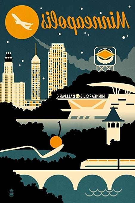 Recent Amazon: Minneapolis, Minnesota – Retro Skyline (12X18 Art Print For Minneapolis Wall Art (View 12 of 15)