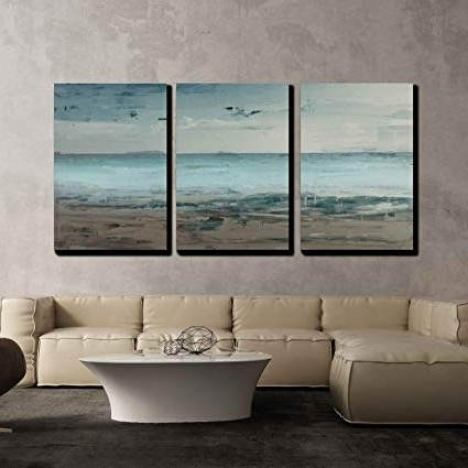 Recent Amazon: Wall26 3 Piece Canvas Wall Art – Canvas Wall Art Throughout Abstract Horizon Wall Art (View 14 of 15)