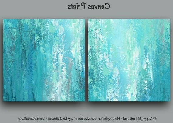 Recent Aqua Abstract Wall Art With Regard To Large Abstract Wall Art Designed For Turquoise Aqua And Teal Home Or (View 6 of 15)