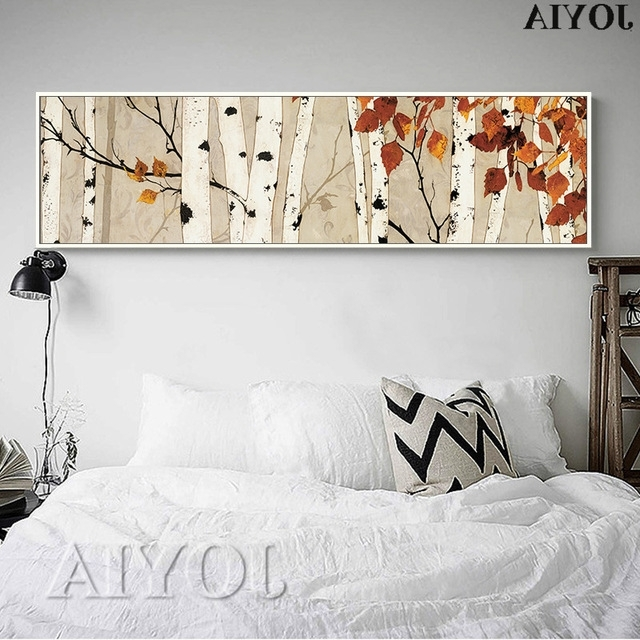Recent Birch Tree Large Canvas Wall Art Bedroom Decor Abstract Painting Pertaining To Horizontal Canvas Wall Art (View 12 of 15)