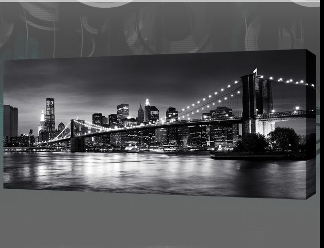 Recent Black And White New York Canvas Wall Art For New York Brooklyn Bridge Panoramic Black & White Canvas Wall Art  (View 4 of 15)
