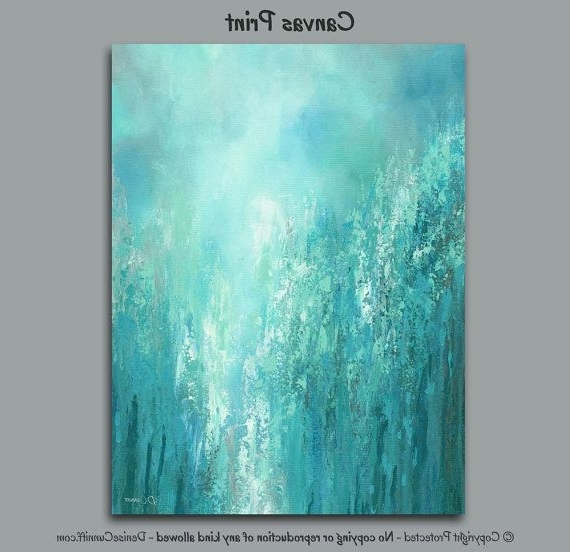 Recent Blue Green Abstract Wall Art Regarding Large Abstract Wall Art, Teal Gray Aqua, Blue Green Turquoise (View 15 of 15)