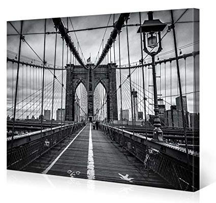 Recent Brooklyn Bridge Metal Wall Art Within Amazon: Large Canvas Print Wall Art – Brooklyn Bridge Walk (View 12 of 15)