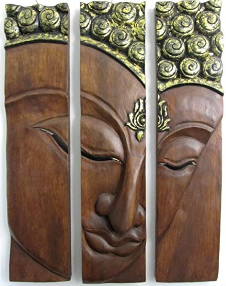 Recent Buddha Wooden Wall Art In Large Wooden Buddha Face Wall Decor Hand Carved Wood 3 Panel Art (View 10 of 15)