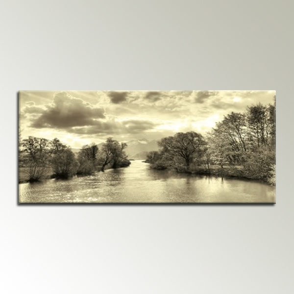 Recent Canvas Landscape Wall Art Intended For Cream Black And White Landscape 44X20 Inch Panoramic Canvas Wall Art (View 9 of 15)