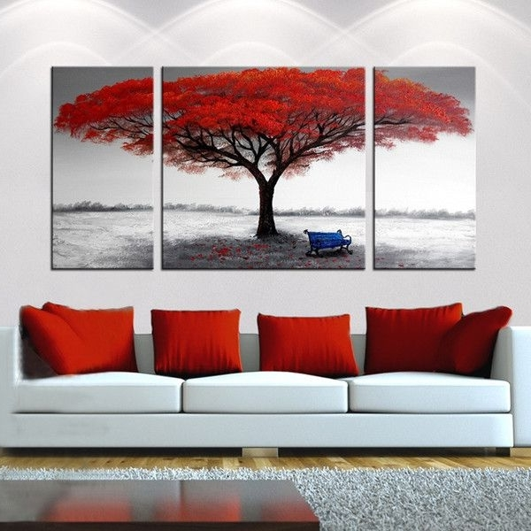 Recent Canvas Wall Art 3 Piece Sets Intended For Trendy 3 Piece Canvas Wall Art Hd Printed Guitar Tree Lake Sunset (View 11 of 15)