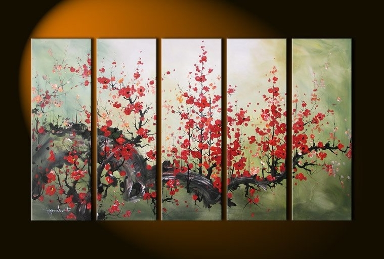 Recent Cherry Blossom Oil Painting Modern Abstract Wall Art Inside Handmade 5 Piece Black White Red Landscape Oil Paintings On Canvas (View 12 of 15)
