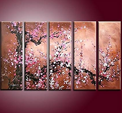 Recent Cherry Blossom Oil Painting Modern Abstract Wall Art Pertaining To Amazon: Handmade Modern Abstract Cherry Blossom Tree Wall Art (View 7 of 15)