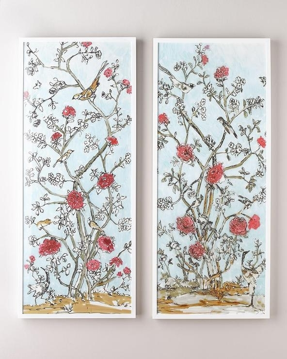 Recent Chinoiserie Wall Art With Modern Chinoiserie Diptych Red Blossoms Wall Art (View 13 of 15)