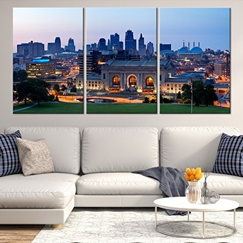 Recent Cityscape Canvas Wall Art Inside Amazon: Kansas City Skyline Wall Art, Kansas City Skyline Canvas (View 11 of 15)