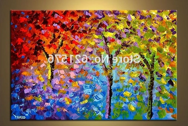 Recent Colourful Abstract Wall Art Throughout Big Hand Painted Modern Living Room Home Decor Abstract Wall Art (View 1 of 15)