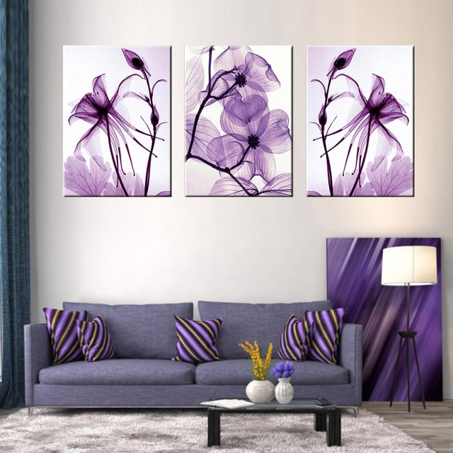 Recent Combined 3 Pcs/set New Purple Flower Wall Art Painting Prints On For Abstract Flower Wall Art (View 4 of 15)