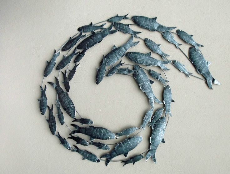Recent Contemporary Silver Fish Shoal Metal Wall Art Unusual, Glass Wall For Unusual Metal Wall Art (View 7 of 15)