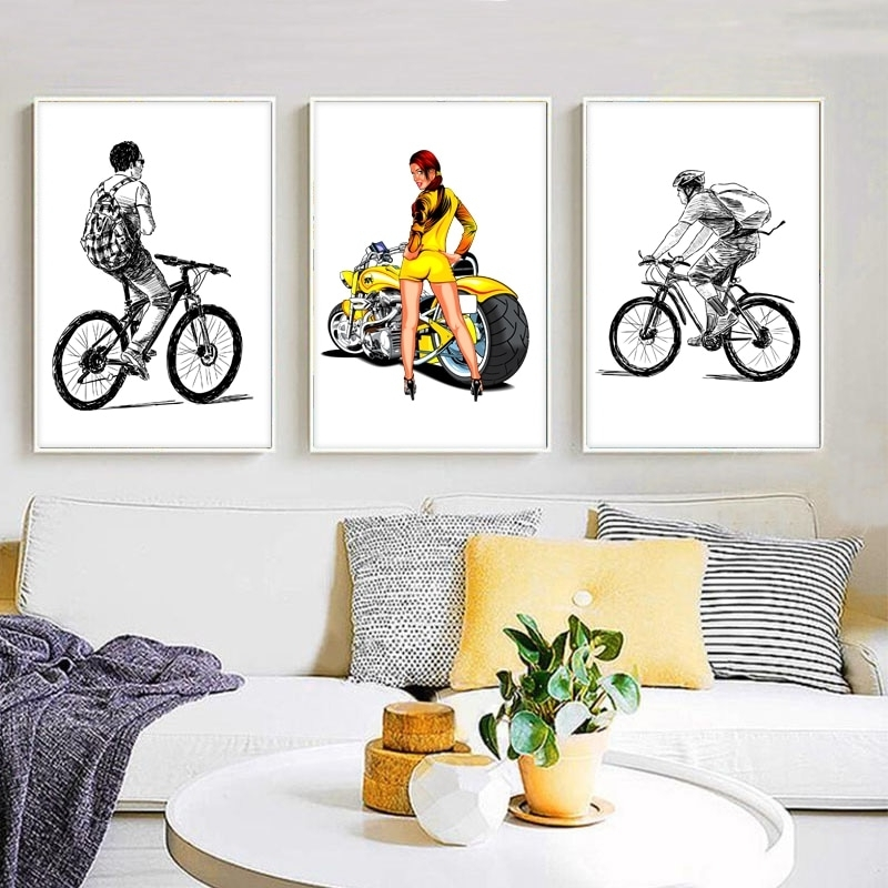 Recent Cycling Wall Art With Sd Linleehon Abstract Cyclist Canvas Art Print Wall Pictures Cycling (View 13 of 15)