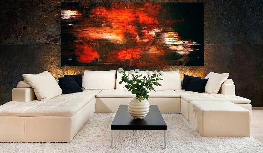 Recent Decoration: Black Orange And White Dark Modern Abstract Art Painting With Regard To Abstract Living Room Wall Art (View 14 of 15)