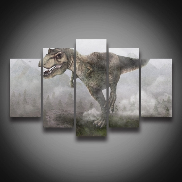 Recent Dinosaur Canvas Wall Art With Regard To 5 Panel Hd Printed Modular Painting Dinosaur Canvas Print Art Modern (View 12 of 15)