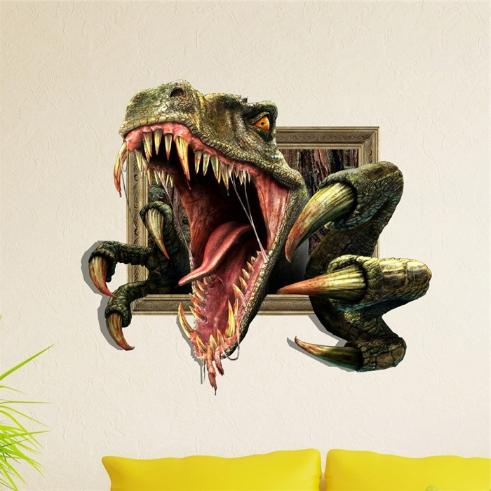 Recent Dinosaurs 3D Wall Art With Bolon Dino 3D Wall Decals Animal Pag Sticker Removable Wall Stickers (View 12 of 15)