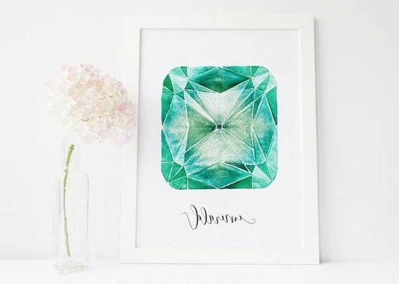 Recent Gemstone Wall Art In Emerald Crystal Emerald Stone Art Gemstone Decor, Crystals And Gem (View 14 of 15)