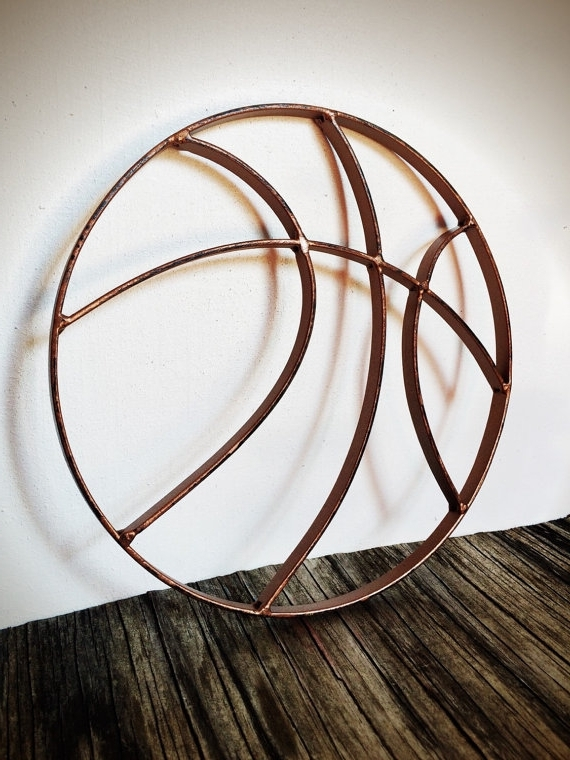 Recent Hammered Metal Wall Art Pertaining To Bold Hammered Copper Finish Basketball Metal Wall Art // Rustic (View 12 of 15)