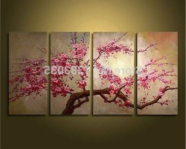 Recent Hand Painted Large Abstract Modern Cherry Blossom Flowers Paintings throughout Cherry Blossom Oil Painting Modern Abstract Wall Art