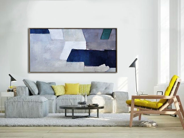 Recent Handmade Original Horizontal Wall Art, Abstract Art Canvas Painting Intended For Horizontal Abstract Wall Art (View 5 of 15)