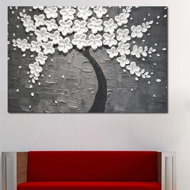 Recent Handpainted Abstract Flower Oil Paintings On Canvas Modern Home In Blossom White 3D Wall Art (View 8 of 15)