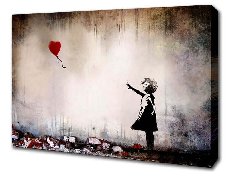 Recent Heart Balloon Banksy Canvas Stretched Canvas With Banksy Wall Art Canvas (View 12 of 15)