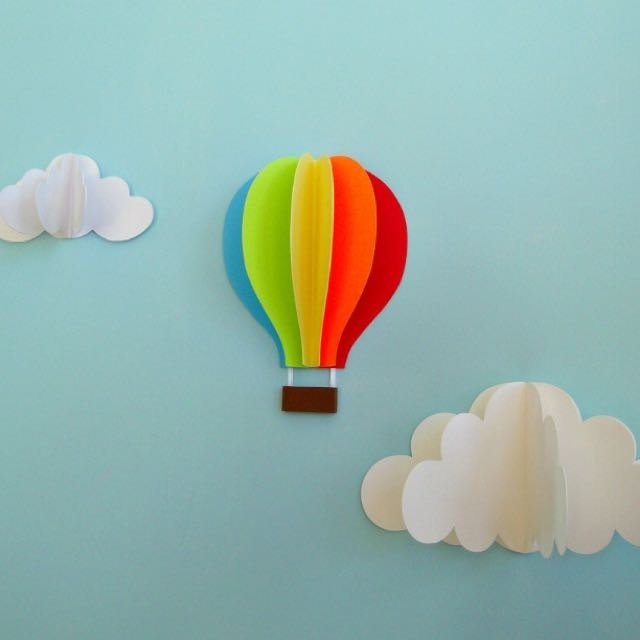 Recent Hot Air Ballon Paper Wall Art 3D, Babies & Kids On Carousell With 3D Clouds Out Of Paper Wall Art (View 7 of 15)