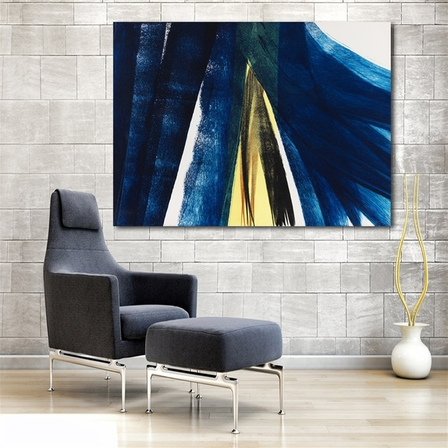 Recent Large Hd Canvas Print Painting Hans Hartung Dark Blue Artwork Wall Intended For Dark Blue Wall Art (View 13 of 15)
