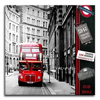 Recent London Scene Wall Art Throughout Amazon: Canvas Print Wall Art Painting London Street Scene Red (View 13 of 15)