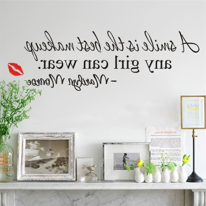 Recent Marilyn Monroe Wall Art Quotes Inside A Smile Is The Best Makeup Wall Stickers Marilyn Monroe Quotes  (View 11 of 15)