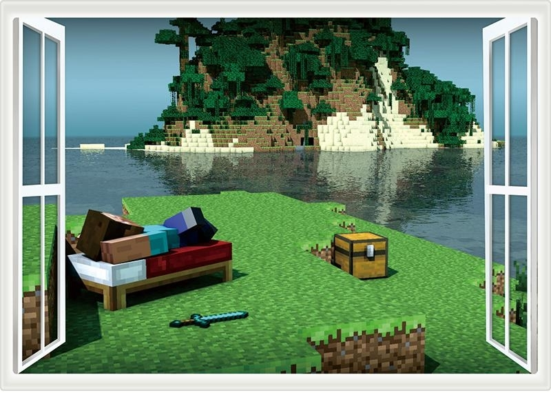 Recent Minecraft Styled Wall Poster Decal Sticker Throughout Minecraft 3D Wall Art (View 12 of 15)