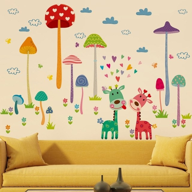 Recent Mushroom Wall Art For Cartoon Animal Forest Fawn Wall Sticker Mushroom Wall Decal Mural (View 12 of 15)