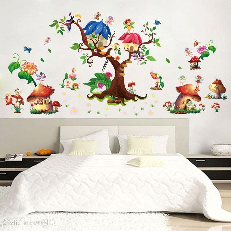 Recent Mushroom Wall Art With Beautiful Butterfly Mushroom Wall Sticker Creative Flower Elf Wall (View 13 of 15)