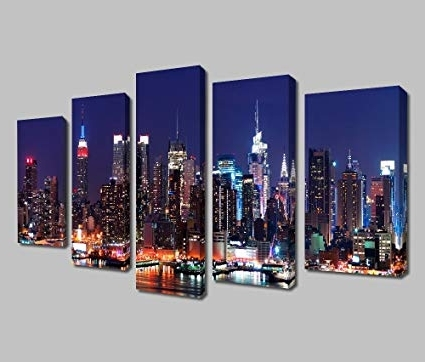 Recent New York City Canvas Wall Art In Amazon: Artgow 5 Piece Canvas Wall Art New York City Nyc (View 15 of 15)