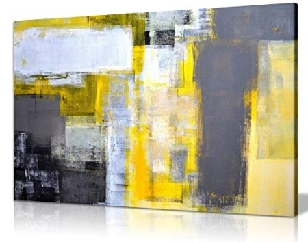 Recent Office Art Grey And Yellow Abstract Art Painting Canvas Wall Art with Yellow And Grey Abstract Wall Art