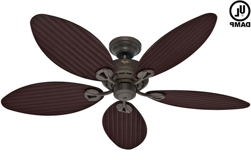 "Recent Outdoor Ceiling Fans With Uplights Within Hunter 54098 Bayview 54"" Ceiling Fan Gold (View 11 of 15)"