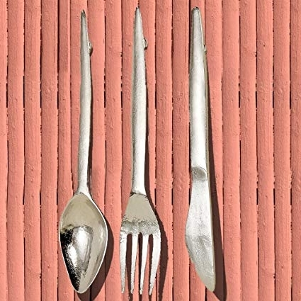 Recent Oversized Cutlery Wall Art With Regard To Amazon: The Gastro Chic Knife, Fork, And Spoon Wall Utensils (View 11 of 15)