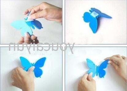 Recent Pack Diy 3D Wall Sticker Butterflies Home Decor Room Decorations Regarding Diy 3D Wall Art Butterflies (View 7 of 15)