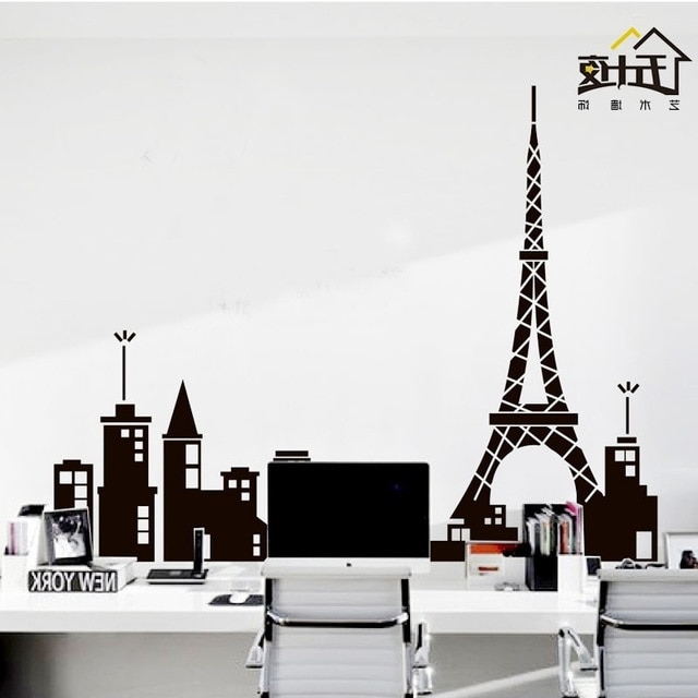 Recent Paris Vinyl Wall Art Throughout Paris Vinyl Wall Decal Paris Tower Eiffel Tower Mural Art Skyline (View 14 of 15)