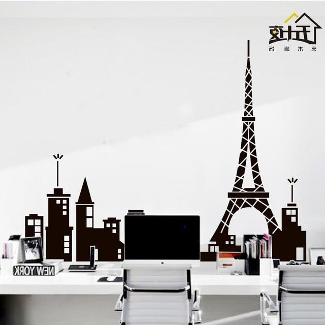 Recent Paris Vinyl Wall Art Throughout Paris Vinyl Wall Decal Paris Tower Eiffel Tower Mural Art Skyline (View 13 of 15)
