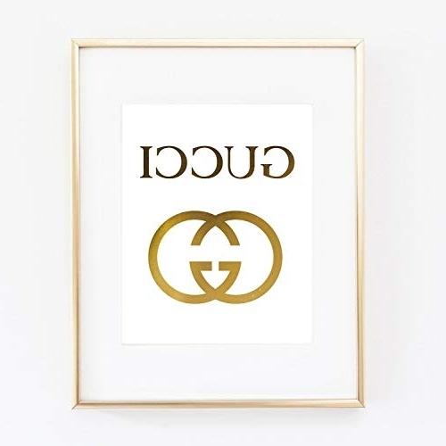 Recent Prada Marfa Wall Art For Amazon: Gucci Logo Poster Real Gold Foil Print Wall Art Prada (View 8 of 15)