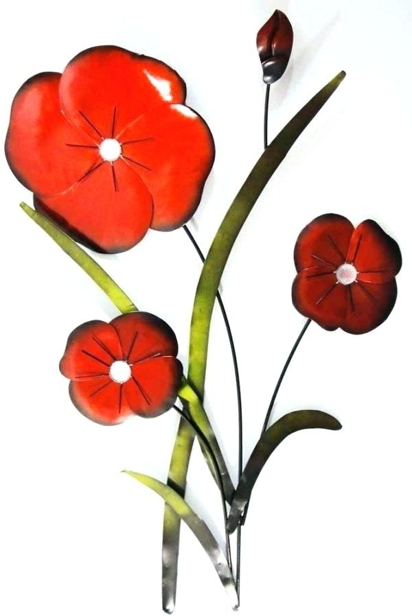 Recent Red Flower Metal Wall Art With 3 Piece Metal Wall Art 3 Piece Metal Wall Art New Red Flower Metal (View 4 of 15)