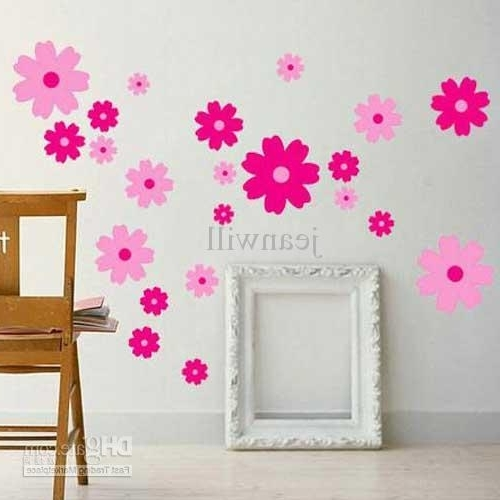 Recent Tc1027 Flower Wall Decal Sticker Girl Room Nursery Wall Decor Kids With Regard To Pink Flower Wall Art (View 9 of 15)