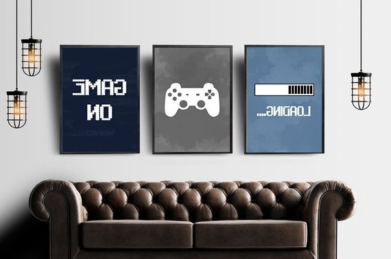 Recent Video Game Wall Art Inside Video Game Wall Art Gaming Wall Art Set Of 3 Blue Gray (View 2 of 15)