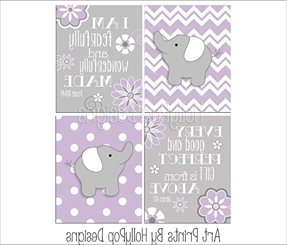 Recent Wall Art For Girls In Amazon: Purple Gray Girl Nursery Art Girl Elephant Wall Art (View 7 of 15)