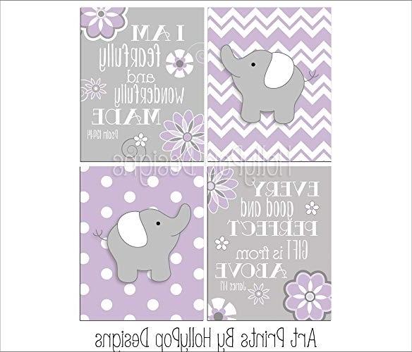 Recent Wall Art For Girls In Amazon: Purple Gray Girl Nursery Art Girl Elephant Wall Art (View 7 of 15)
