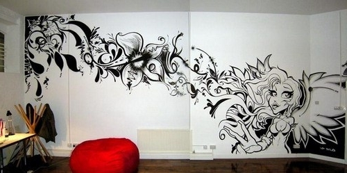 Recent Wall Art Stencil – Elitflat Regarding Airbrush Wall Art (View 10 of 15)