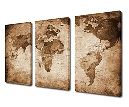 Recent World Wall Art Within Amazon: Canvas Wall Art World Map Painting Canvas Prints Framed (View 10 of 15)
