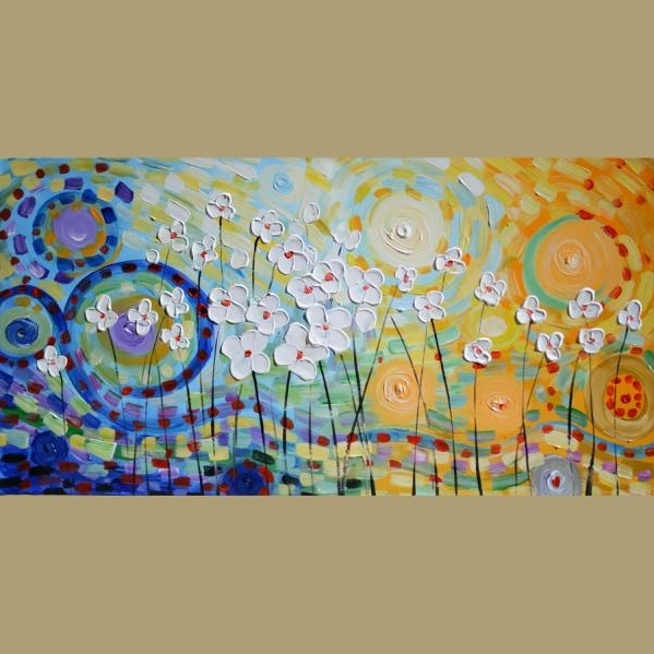 Recent Yellow And Blue Wall Art With Original Oil Painting Summer Days 23 X 45 Modern Home Decor (View 13 of 15)